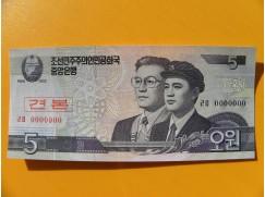 bankovka 5 wonů Severní Korea 2002 - specimen
