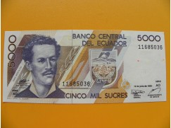 bankovka 5000 ekvádorských sucres/1999
