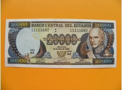 bankovka 20 000 ekvádorských sucres/1999