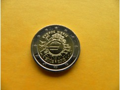 Euro mince 2 euro - 10 let bankovek a minci KYPR 2012 UNC
