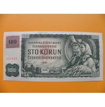 100.- Kčs/1961 kolek lepený 1993 série G 94  UNC