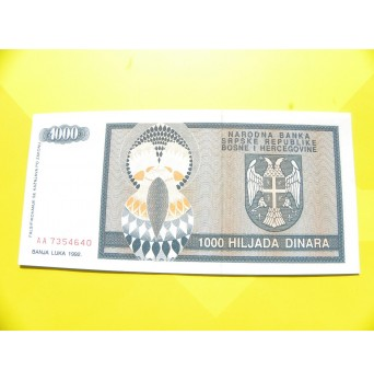 bankovka 1000 dinárů - série AA
