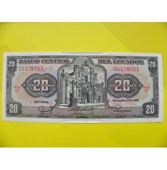 bankovka 20 sucres Ekvádor - série LP