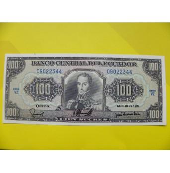bankovka 100 ekvádorských sucres/1990