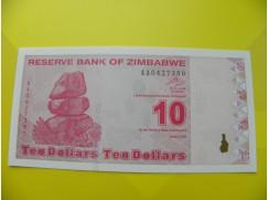 bankovka 10 Zimbabwských dolarů - série AA