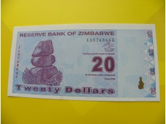 bankovka 20 Zimbabwských dolarů - série AA
