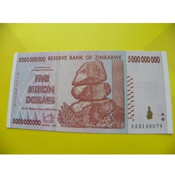 bankovka 5 miliard Zimbabwských dolarů - série AA