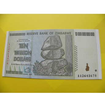 bankovka 10 bilionů Zimbabwských dolarů 2008 - série AA