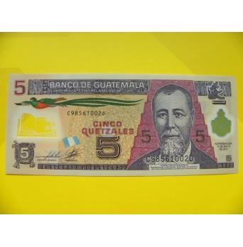 bankovka 5 quetzal - série C - polymar