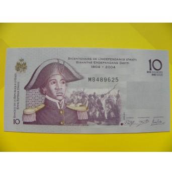 bankovka 10 gourde  Haiti 2004 - série M
