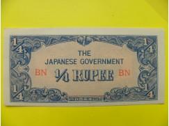 bankovka  1/4  Japonské rupie -Barma 1942- série BN