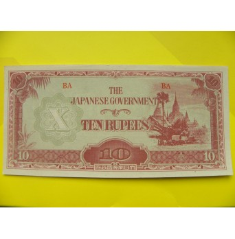 bankovka  10  Japonských rupií - Barma 1944 - série BA