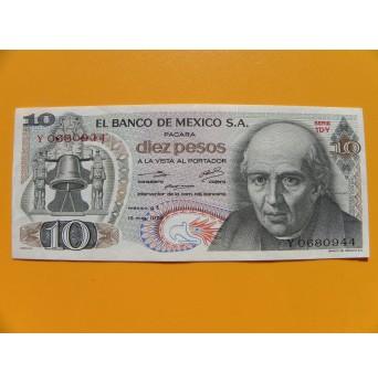 bankovka 10 pesos Mexiko 1975 série 1DY