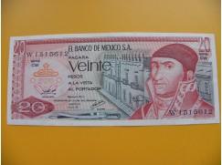 bankovka 20 pesos Mexiko 1970 série CW