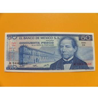bankovka 50 pesos Mexiko 1976 série DX