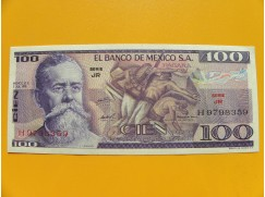 bankovka 100 pesos Mexico 1978 série JR