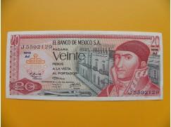 bankovka 20 pesos Mexiko 1973 série AJ
