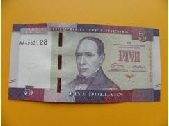 bankovka 5 liberijských dolarů  Libérie 2016 - série AA