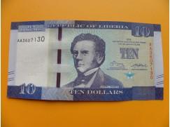 bankovka 10 dolarů Libérie 2016 - série AA