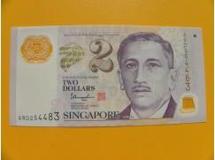 bankovka 2 dolary Singapur 2017- série 6RD - polymar