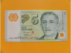 bankovka 5 dolarů Singapur 2014-16  sérieAB  - polymar