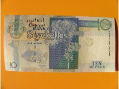bankovka 10 rupií Seychely 2013 - série AJ