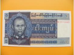 bankovka  5 Barmských kyat 1973 - série JA