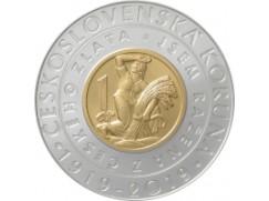 100. výročí zavedení československé koruny - bimetalová mince - emise 10. dubna 2019 - b.k.