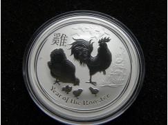 Stříbrná mince Lunar II. Year of the Rooster (rok Kohouta) 1 OZ 2017