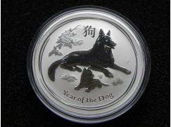 Stříbrná mince Lunar II. Year of the Dog (rok Psa) 1 OZ 2018
