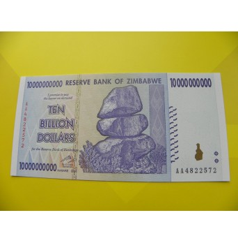 bankovka 10 miliard zimbabwských dolarů - série AA