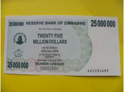 bankovka 25 miliónů Zimbabwských dolarů - série AA